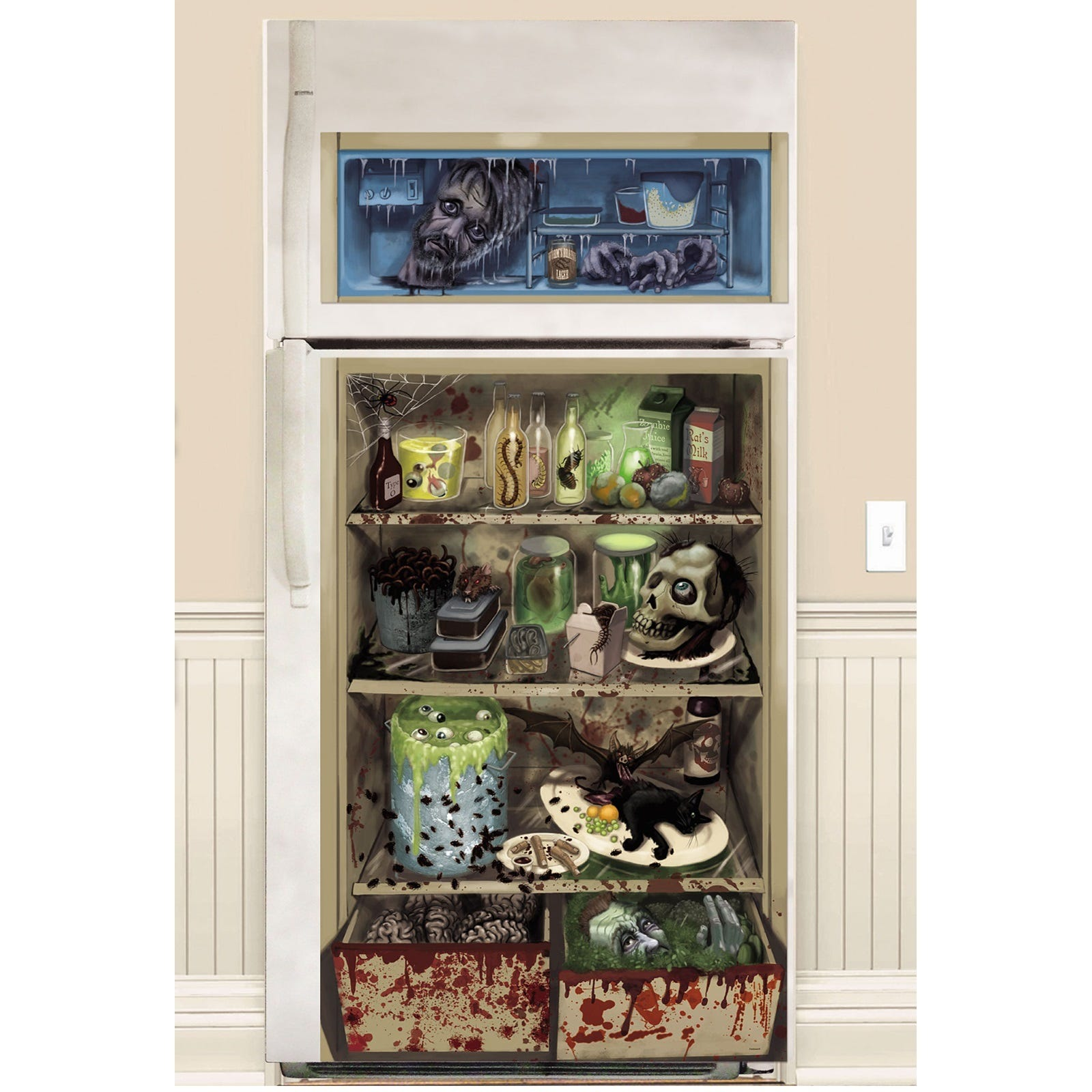 Halloween gory scary plastic fridge refrigerator door for Decoration porte halloween