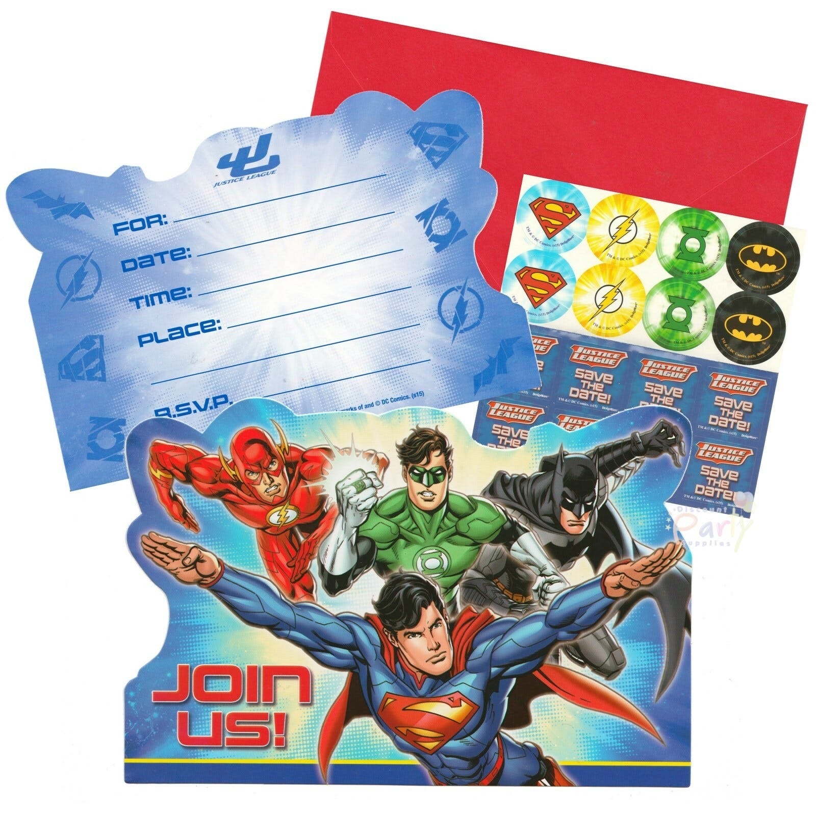 Justice League Invitations Free: JUSTICE LEAGUE BIRTHDAY PARTY SUPPLIES INVITATIONS INVITES