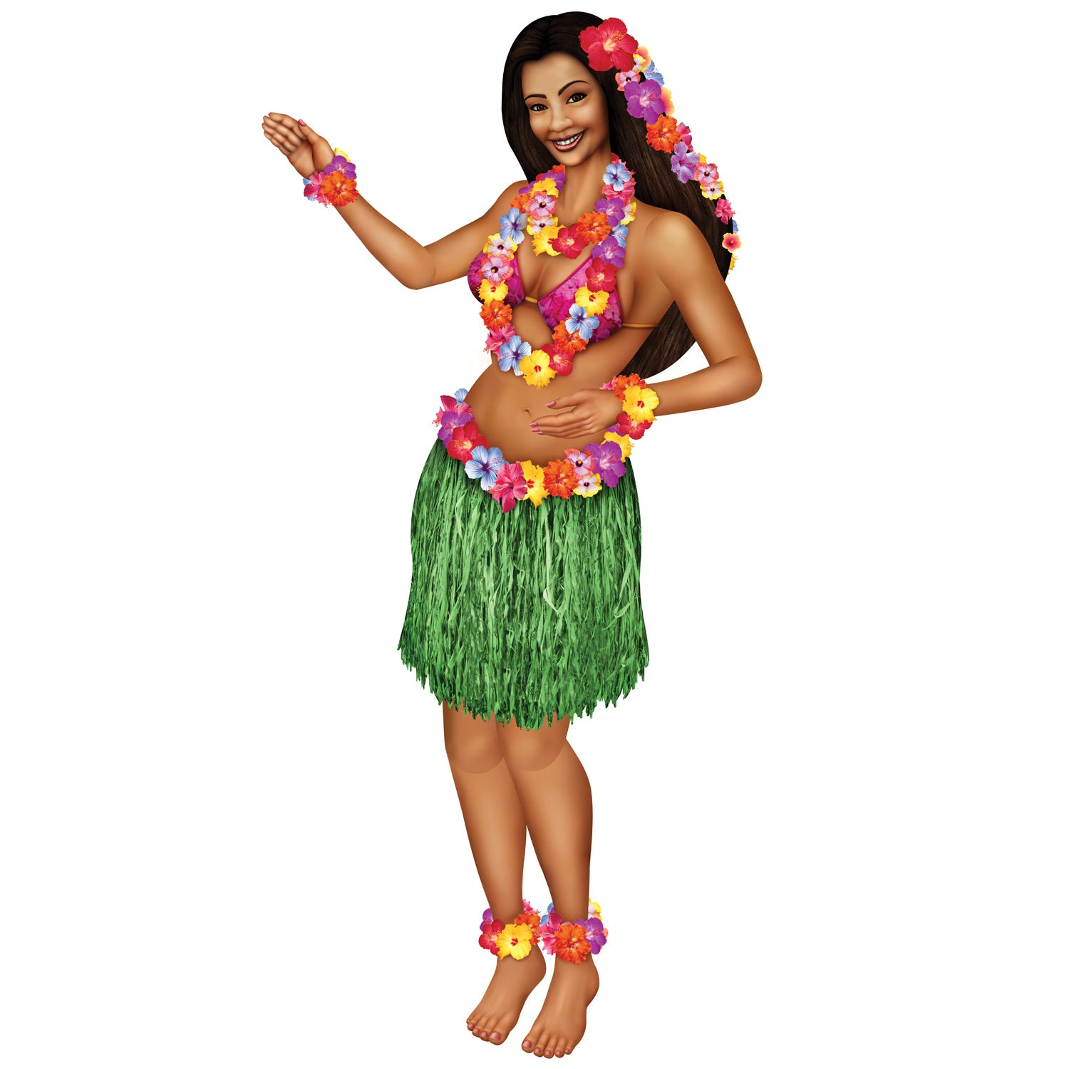 hawaiian luau beach hula girl huge 1 5 m jointed cardboard hula girl clip art black and white hula girl clip art image