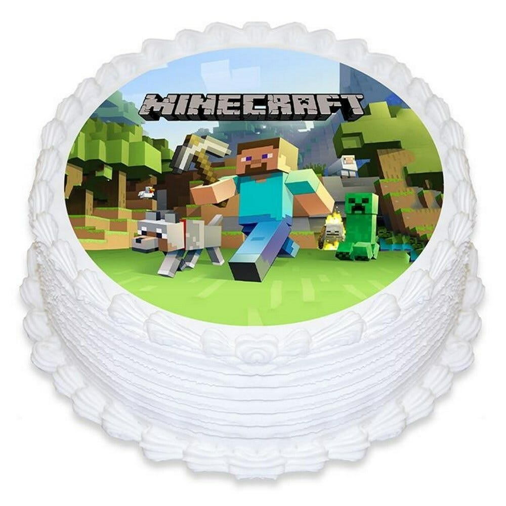 MINECRAFT BIRTHDAY PARTY ROUND EDIBLE CAKE TOPPER IMAGE ...