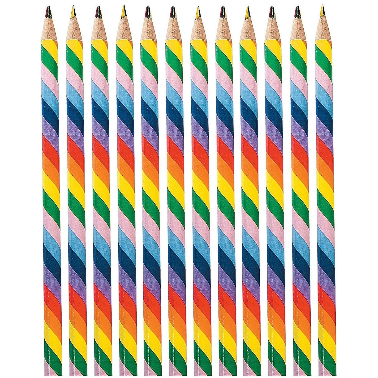RAINBOW-COLOURED-PENCILS-PARTY-SUPPLIES-FAVOURS-SCHOOL-REWARDS-PACK-OF-12