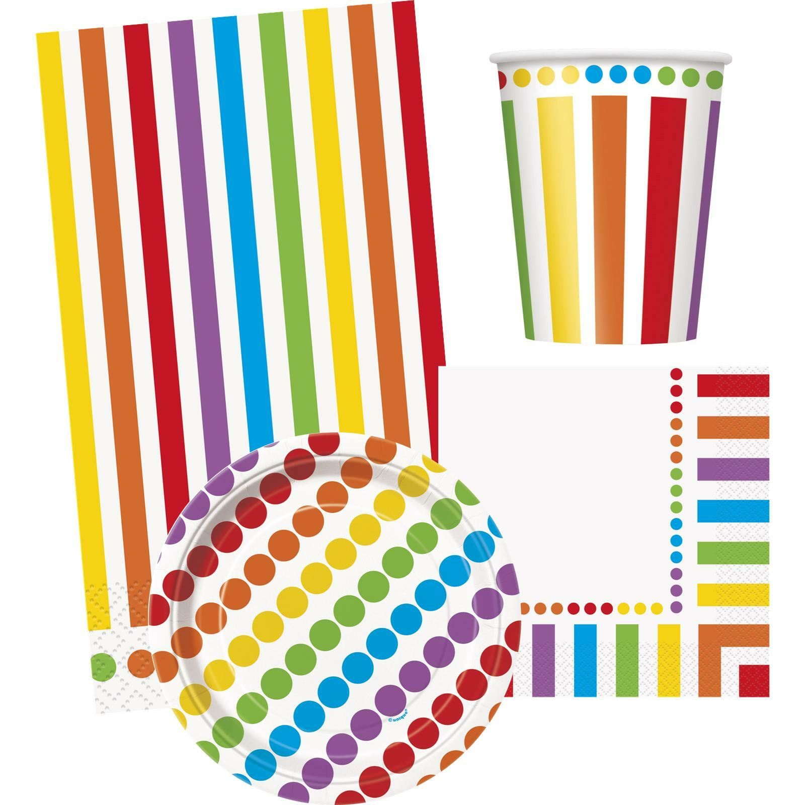 Rainbow dots and stripes party pack table set for 8 guests for Dots and stripes party theme