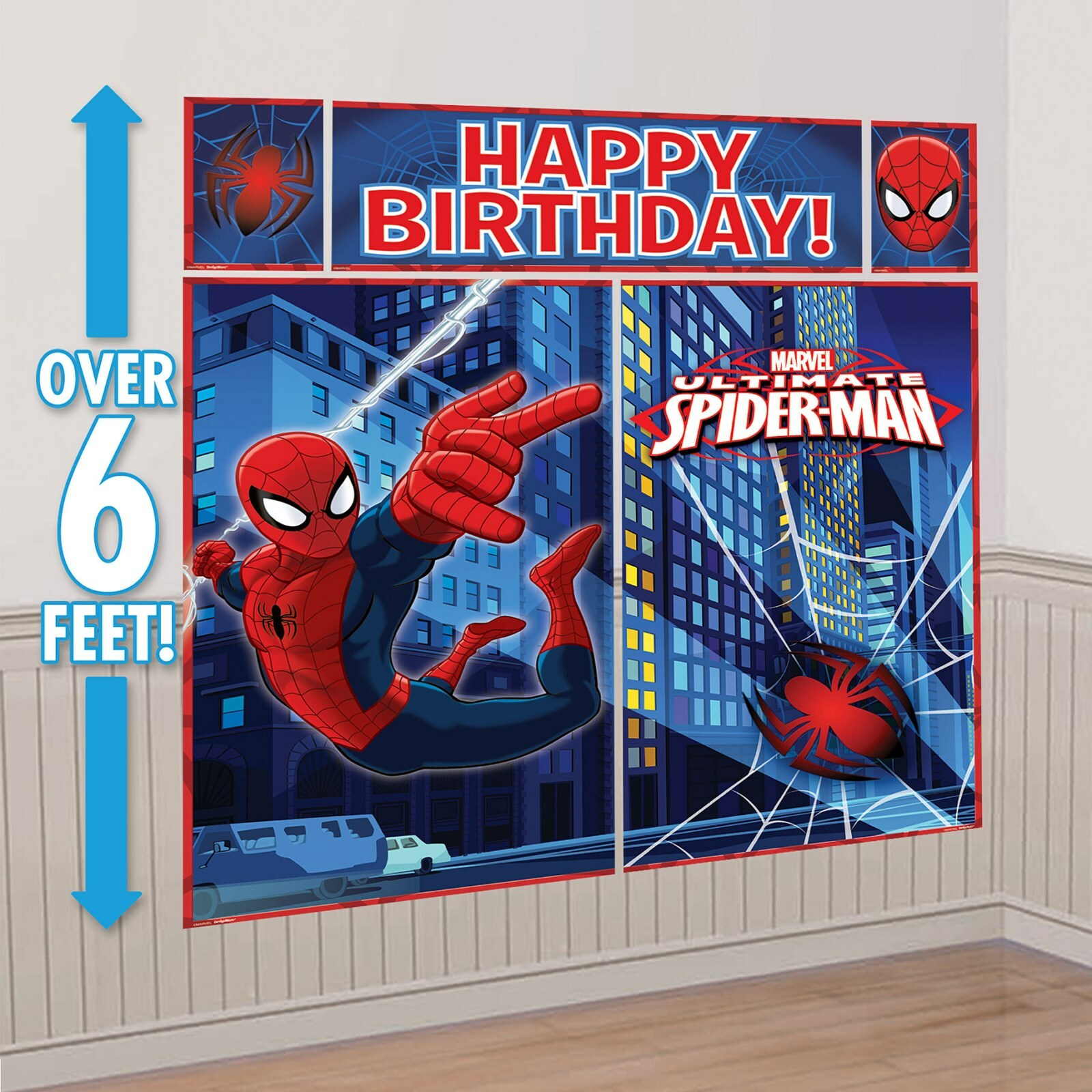 Spiderman Wall Decor spiderman party supplies giant scene setter wall decorations