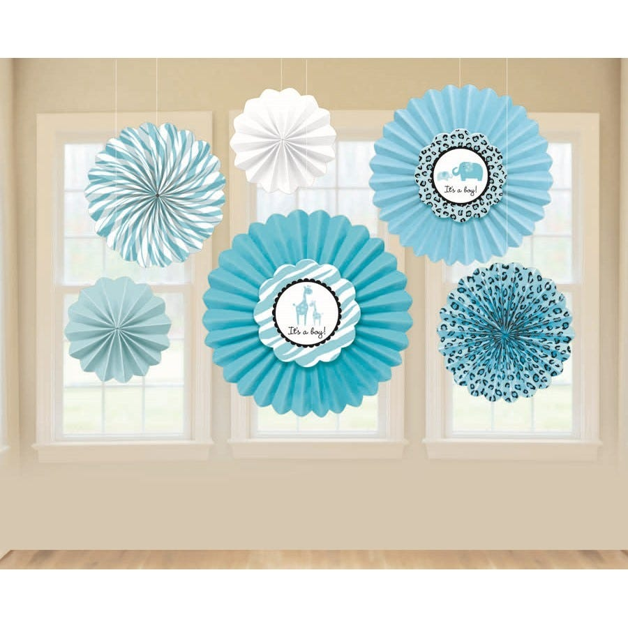 Sweet safari boy baby shower supplies hanging paper fans for Baby shower decoration packs