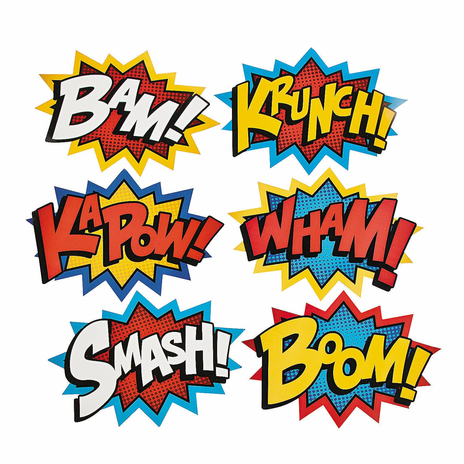 SUPERHERO PACK 6 CARDBOARD JUMBO WORD CUTOUT DECORATIONS